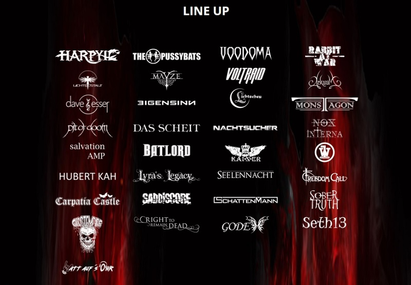 Line up bandlogo gothic rock metal