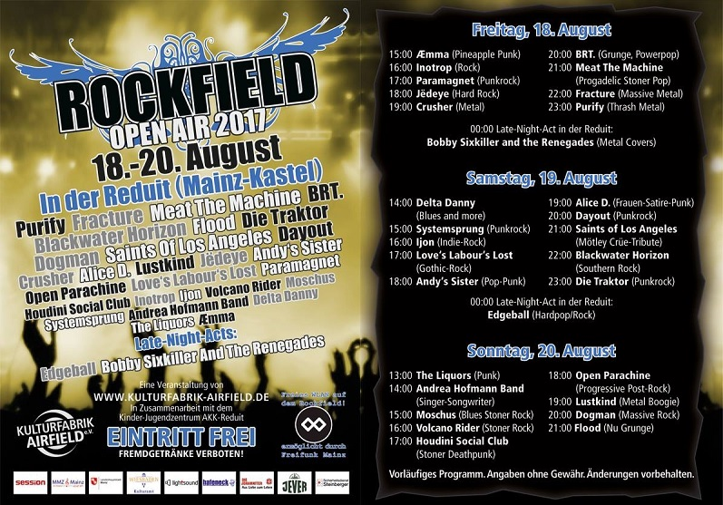 rockfield open air running order 2017